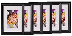 Gallery Perfect 6-Piece Vivid Frame Set, 5 by 7-Inch, Black