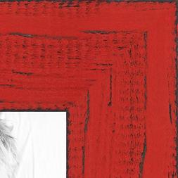 ArtToFrames 5x7 inch Weathered Barnwood in Saturated Red Woo