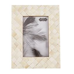 Mud Pie White Herringbone Chip Wood Frame