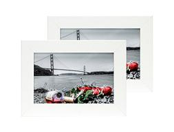 Frametory 4 by 6 Inch Set of 2 White Picture Frame - Made to