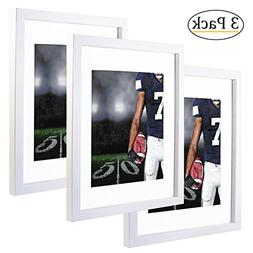 11x14 White Picture Frames with 8x10 Mat for Wall and Table