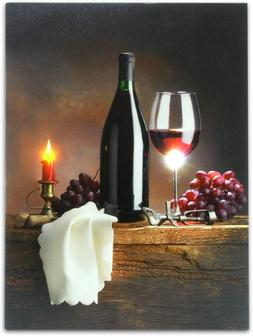 Banberry Designs Wine Canvas Print With Led Lights - Wine Pi