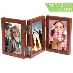 CECIINION Wood Folding Photo Frame Triple Duplex Hinged Pict