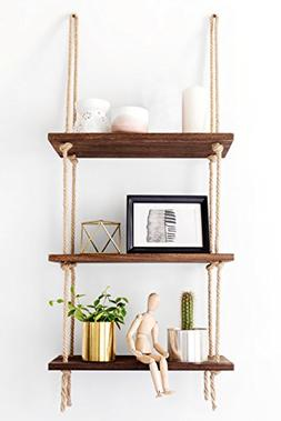 Mkono Wood Hanging Shelf Wall Swing Storage Shelves 3 Tier J