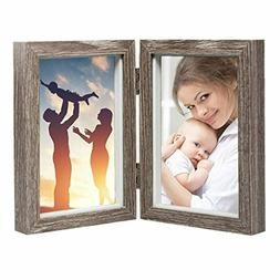 CECIINION Wood Photo Frame Shadow Box 4x6 Hinged Double Pict