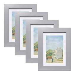 Muzilife 4x6 Wood Picture Frame - Flat Profile - Set of 4 -