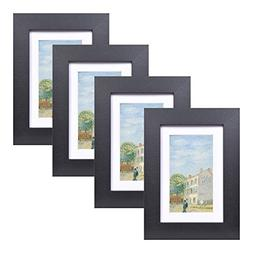 4x6 Wood Picture Frame - Flat Profile - Set of 4 - for Pictu