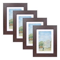 5x7 Wood Picture Frame - Flat Profile - Set of 4 - for Pictu